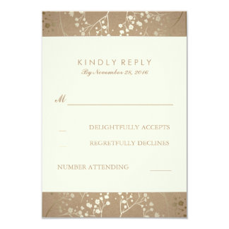 Gold Baby's Breath Wedding RSVP Cards