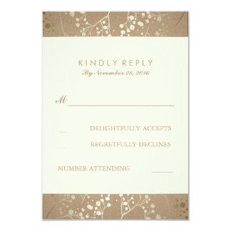 Gold Baby's Breath Wedding RSVP Cards 9 Cm X 13 Cm Invitation Card