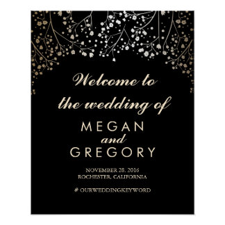 Gold Baby's Breath Wedding Welcome Sign Black Poster