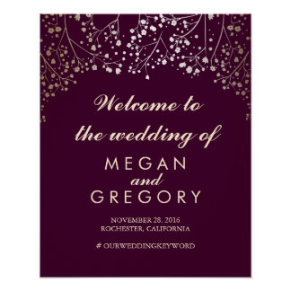 Gold Baby's Breath Wedding Welcome Sign Plum