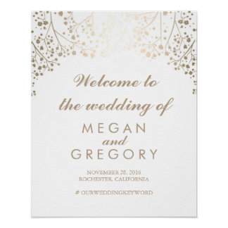 Gold Baby's Breath Wedding Welcome Sign Poster