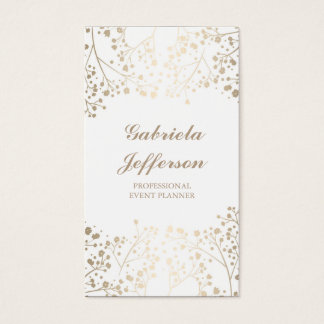 Gold Baby's Breath White Vintage Elegant Business Card