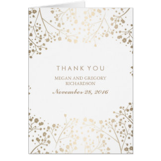 Gold Baby's Breath White Wedding Thank You Note Card
