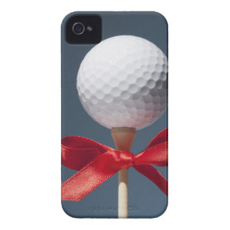 Gold ball on tee with red bow iPhone 4 Case-Mate cases