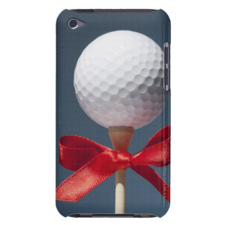 Gold ball on tee with red bow iPod touch cover