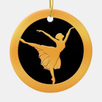 Gold Ballet Dancer Christmas Ornament