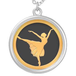 Gold Ballet Dancer Silver Plated Necklace