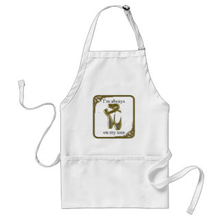 Gold ballet shoes with text standard apron