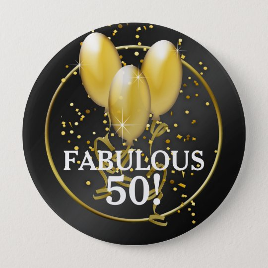 Gold Balloons 50th Birthday Button