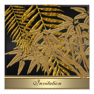 Gold bamboo leaves Birthday Party 13 Cm X 13 Cm Square Invitation Card