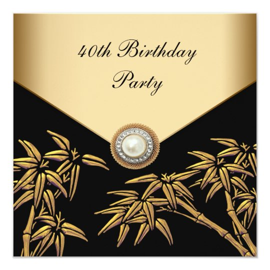 Gold Bamboo Pearl Asian 40th Birthday Party Card