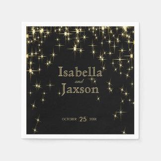 Gold Bar & Black Starlights Wedding 2 Paper Serviettes