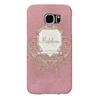 Gold Baroque Lace Parchment Swirl Monogrammed Samsung Galaxy S6 Cases