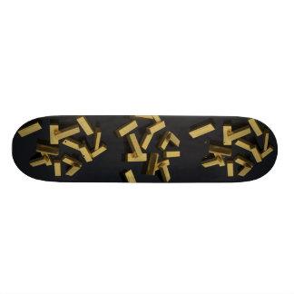Gold bars in bulk on a black background skate decks