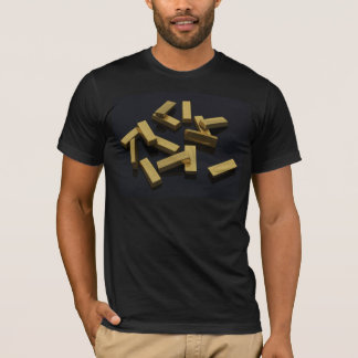 Gold bars in bulk on a black background T-Shirt