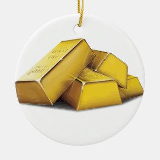 Gold Bars Round Ceramic Decoration