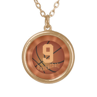 Gold Basketball Necklace with Number for Her