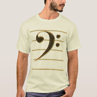 Gold Bass Clef Music Note T-Shirt