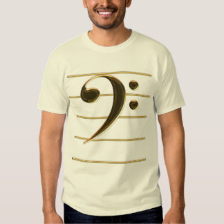 Gold Bass Clef Music Note Tees