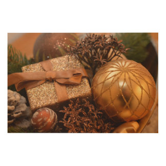 """Gold Bauble and Christmas Present 36"""" x 24"""" Wood Wall Art"""