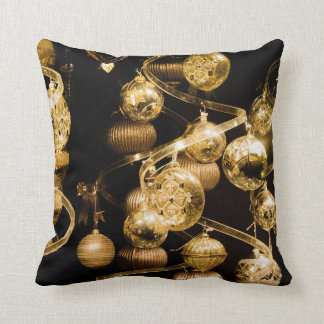 Gold Baubles and Spiral Pattern Cushion