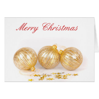 Gold Baubles Christmas Card - Blank on the inside