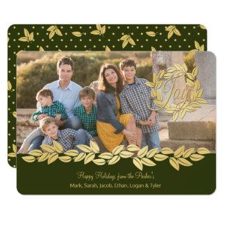 Gold Bay Leaf Wreath and Garland Olive Photo Card
