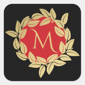 Gold Bay Leaf Wreath Monogram Square Sticker