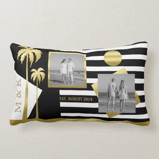 Gold Beach Black Stripes Instagram Photos Monogram Lumbar