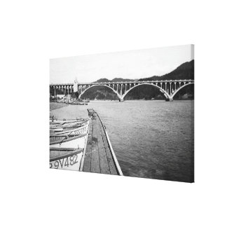 Gold Beach, Oregon Docks and Bridge over Rogue Canvas Print