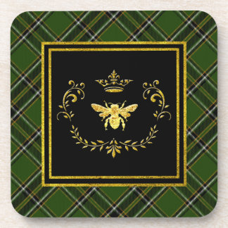 Gold Bee Crown Irish Tartan Coaster