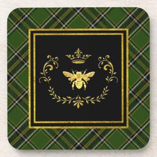 Gold Bee Crown Irish Tartan Drink Coaster