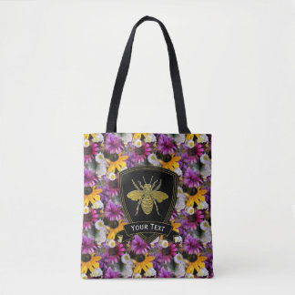 Gold Bee Wildflowers Your Text Tote Bag