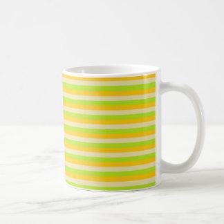 Gold, Beige and Lime Green Stripes Coffee Mug