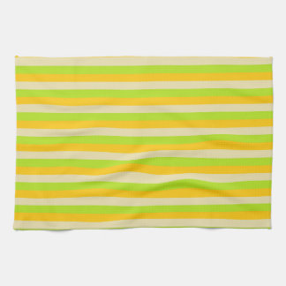 Gold, Beige and Lime Green Stripes Tea Towel