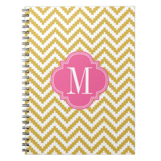 Gold Beige Chevron Aztec Tribal Personalized Notebook