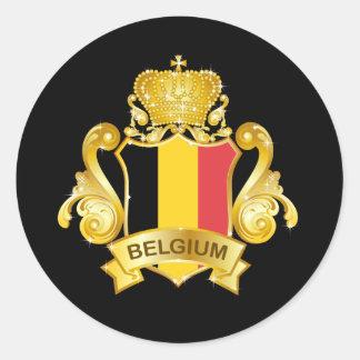 Gold Belgium Classic Round Sticker