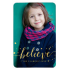 Gold Believe Handwriting   Holiday Full Photo Magnet