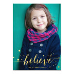 Gold Believe Handwriting | Holiday Photo Card 13 Cm X 18 Cm Invitation Card