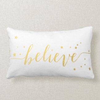 Gold Believe Handwriting | Holiday Throw Lumbar Cushion
