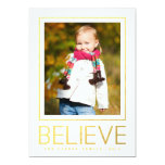 Gold Believe | Holiday Photo Card Personalised Announcements