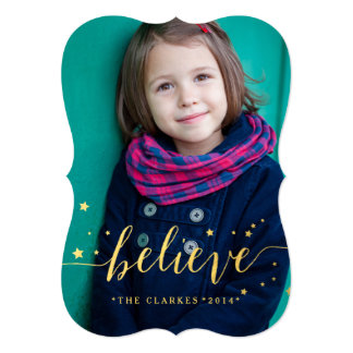 "Gold Believe Stars | Holiday Photo Card 5"" X 7"" Invitation Card"