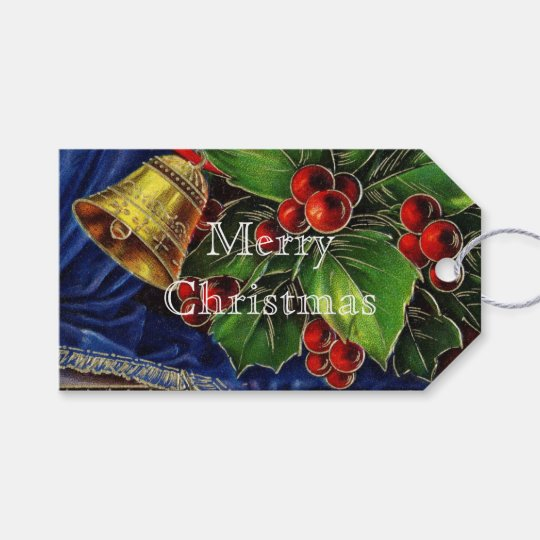 Gold Bell and Red Holly Berries Vintage Christmas Gift Tags