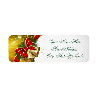 Gold Bells Merry Christmas Return Address Label