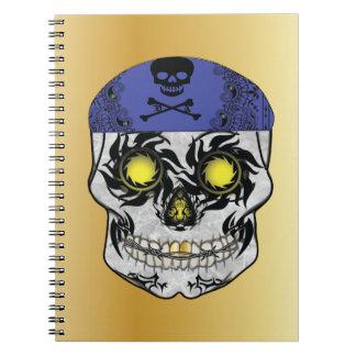 Gold Biker Candy Skull Notebook