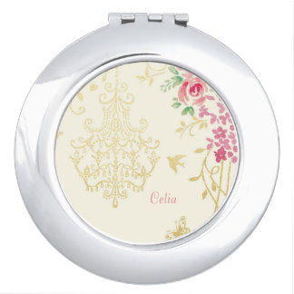 Gold birdcage and pink flower design compact mirror