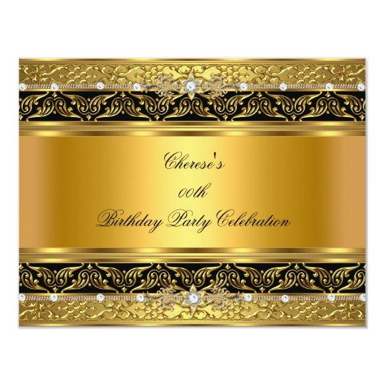 Gold Birthday Party Elegant Gold Diamond Black Card