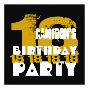 GOLD BLACK 18th Birthday Party 18 Year Old V10A Invitation