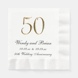 Gold Black 50th Wedding Anniversary Paper Napkins Disposable Napkin