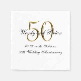 Gold Black 50th Wedding Anniversary Paper Napkins Disposable Serviette